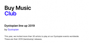 Dystopian line up 2019 Buy Music Club